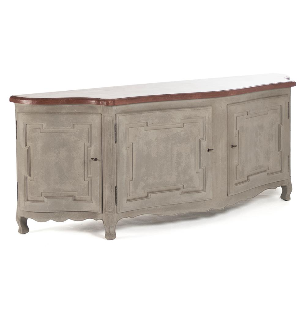 grenelle french country style antique grey long sideboard chest kathy kuo home. Black Bedroom Furniture Sets. Home Design Ideas
