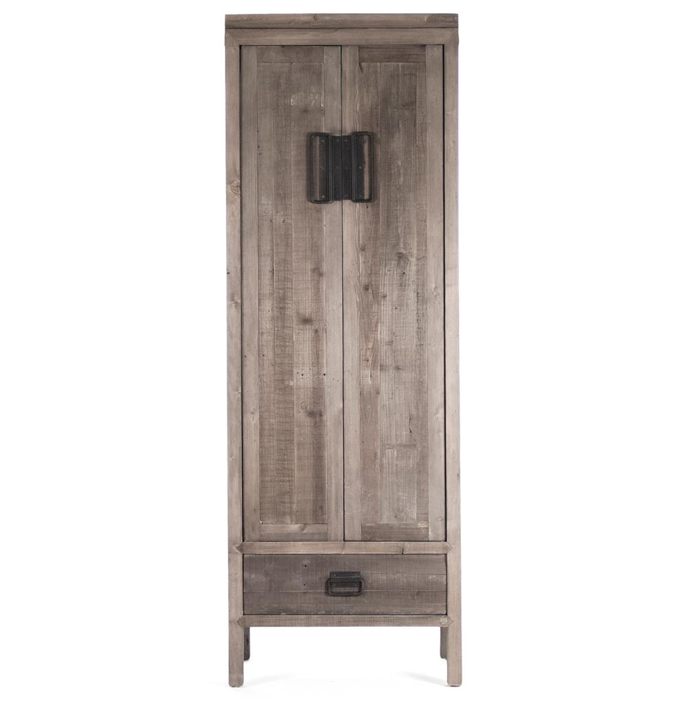 Beau Ming Reclaimed Oak Industrial Asian Inspired Tall Cabinet | Kathy Kuo Home