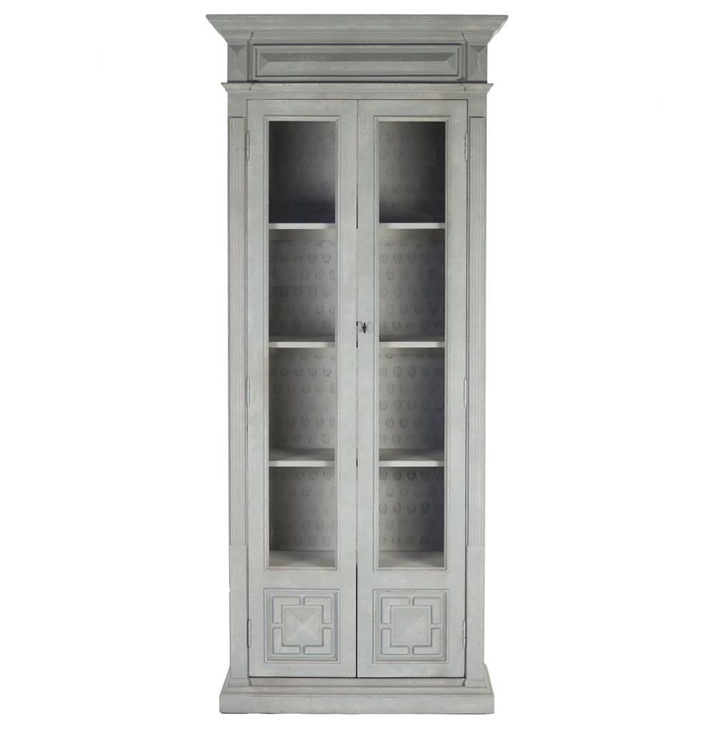Regency style antique grey distressed tall cabinet kathy kuo home