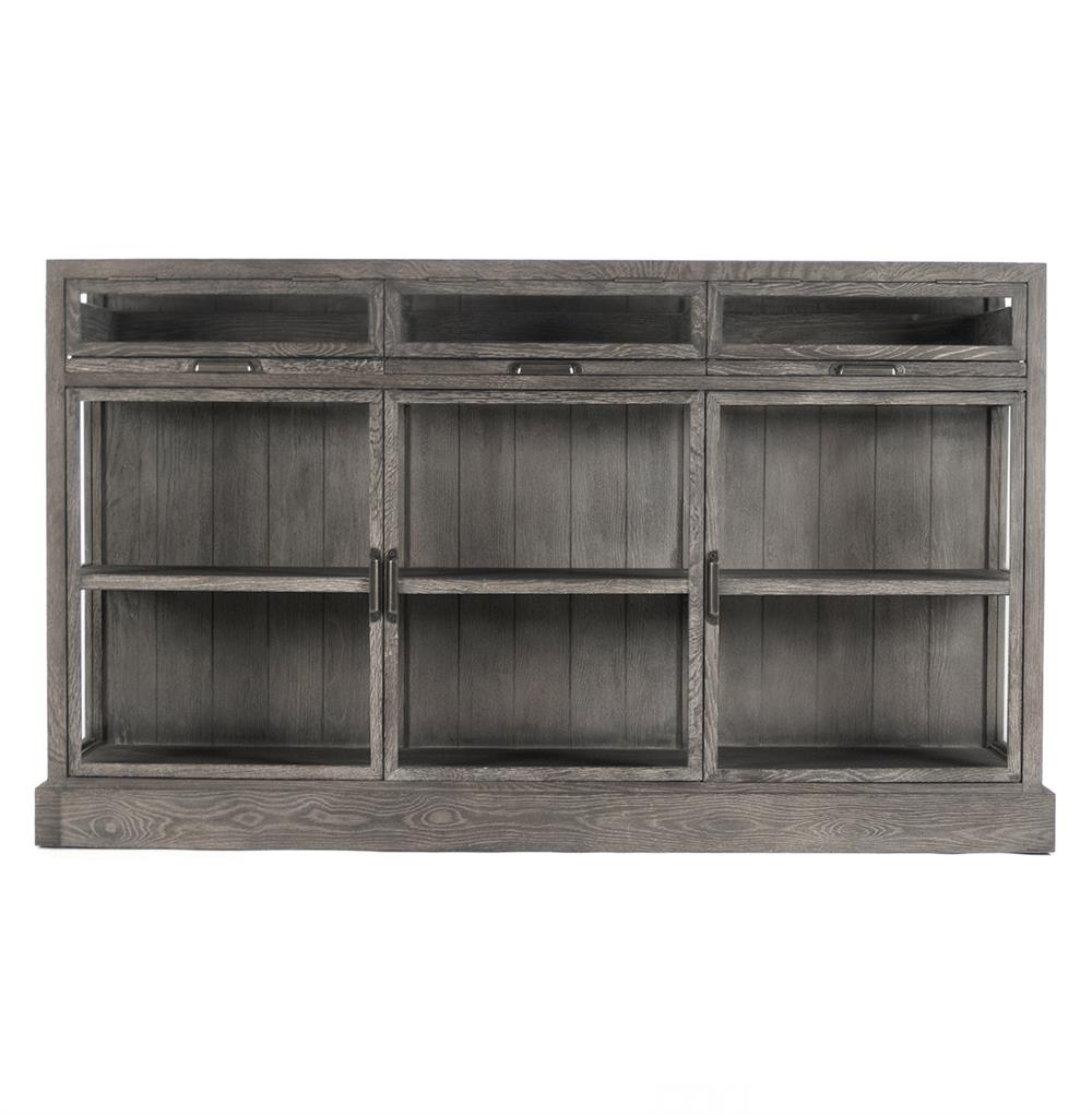 Hazel Creek Industrial Loft Grey Oak Display Media Wall Cabinet | Kathy Kuo  Home ...