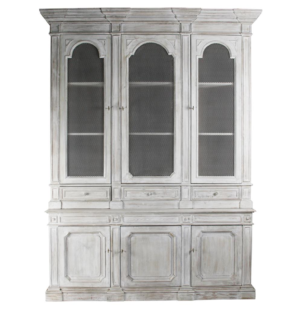 Heritage Antique White Mesh Front French Style Grand Display Cabinet |  Kathy Kuo Home ...