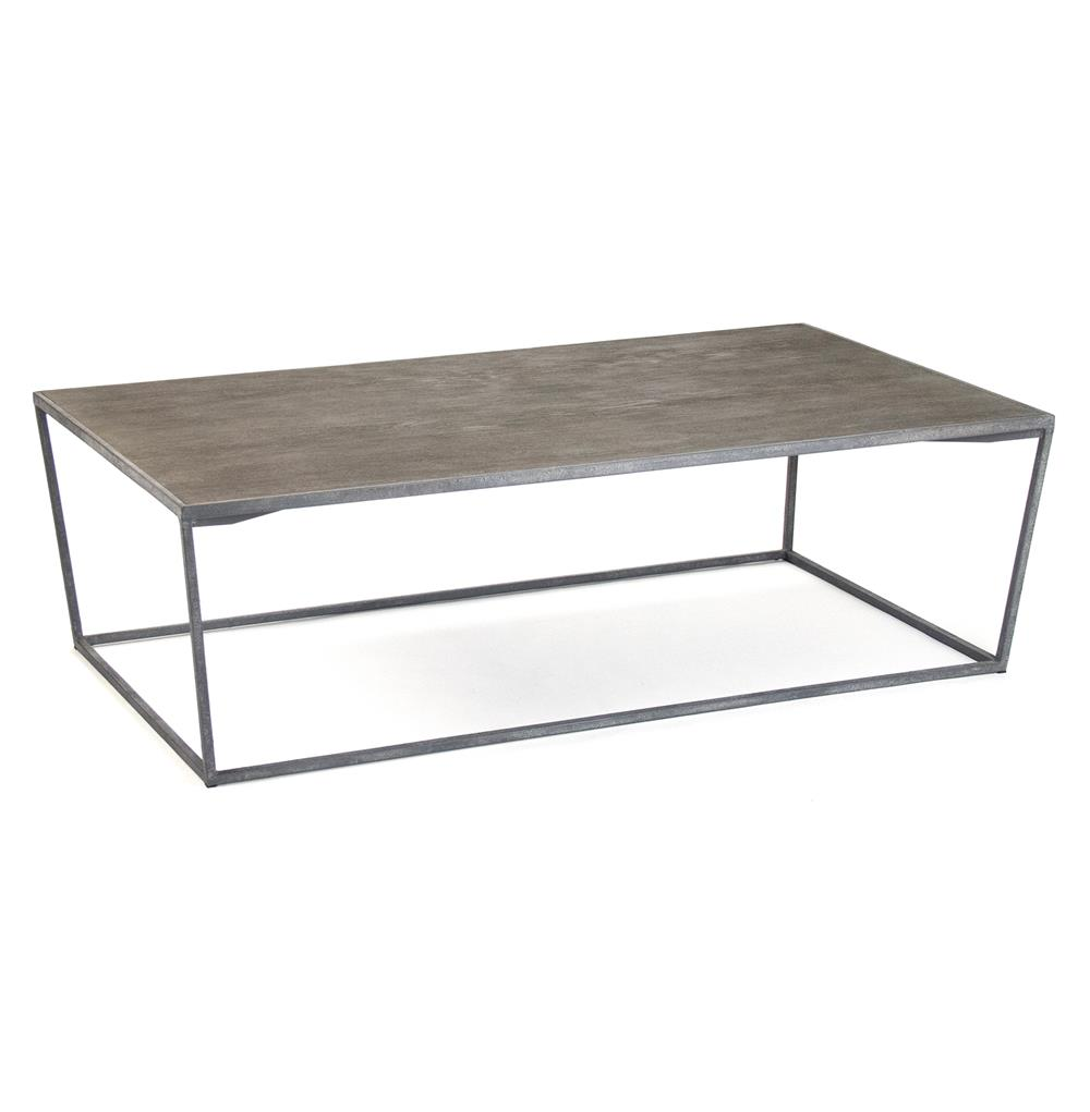 Bleecker Modern Rustic Industrial Grey Steel Reclaimed Oak Coffee Table Kathy Kuo Home