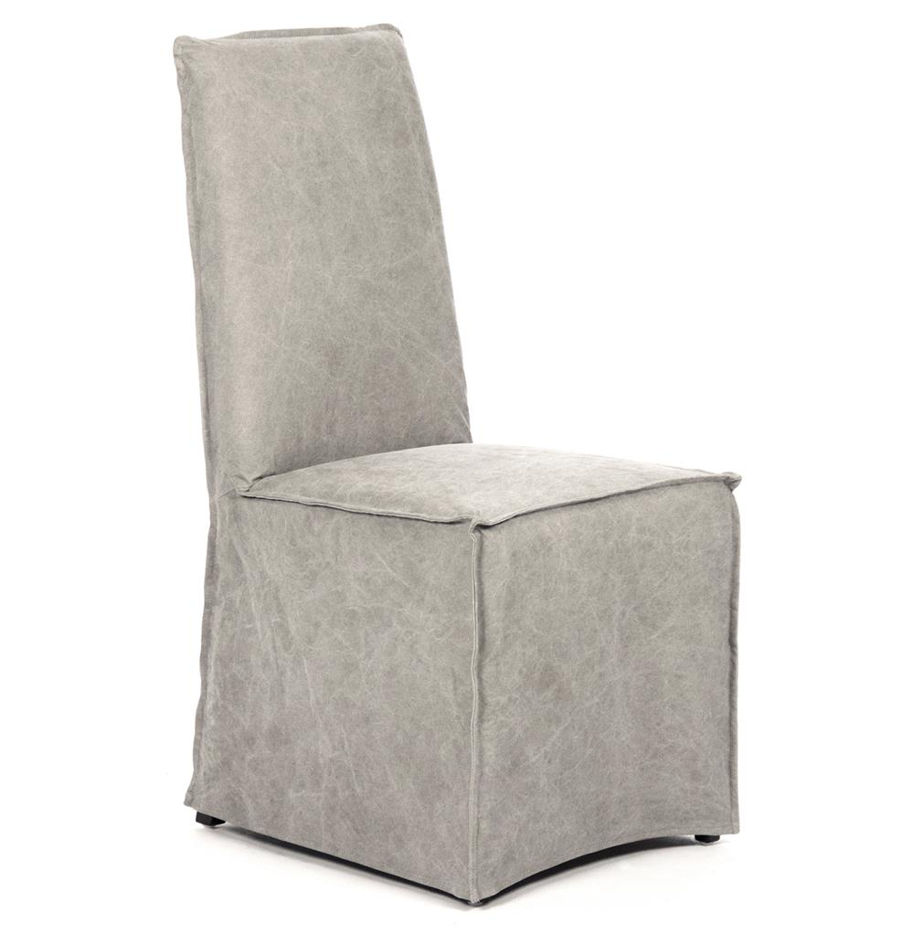 Calistoga Industrial Washed Canvas Distressed Grey Dining Chair | Kathy Kuo  Home ...