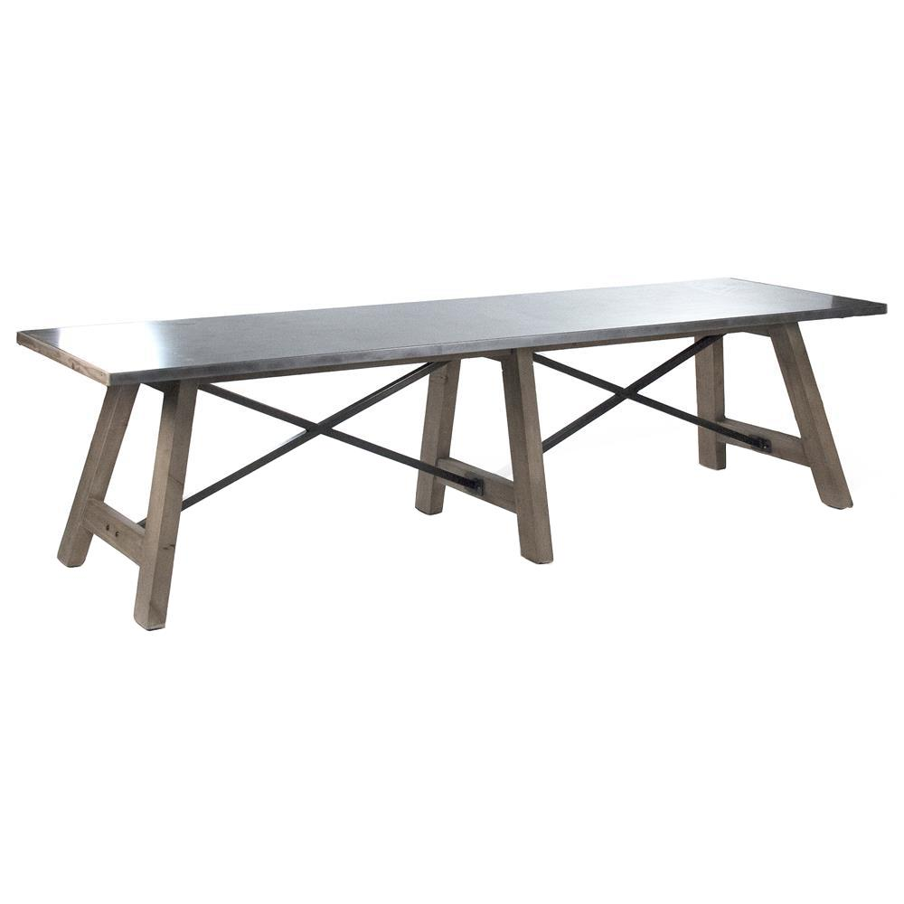 Calistoga industrial rustic powder coat 12 seat metal dining table for 12 seat dining table