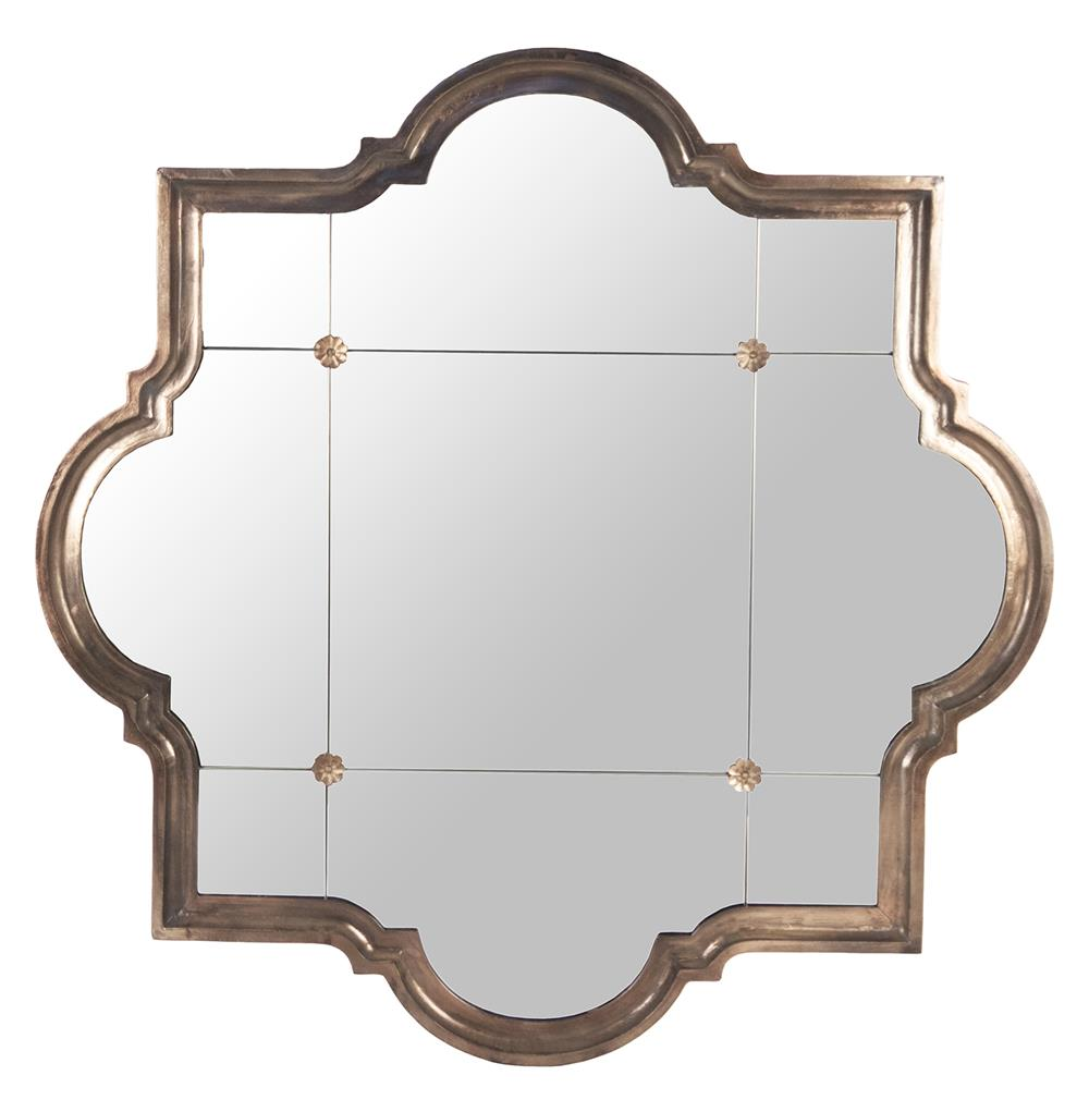 Marissa quatrefoil antique bronze large mirror kathy kuo for Mirror large