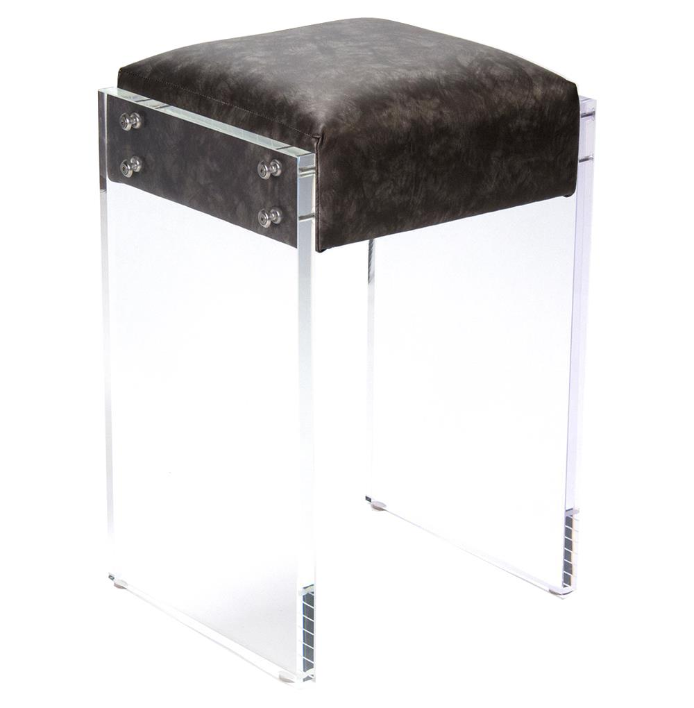 modern hollywood regency black faux leather acrylic vanity counter