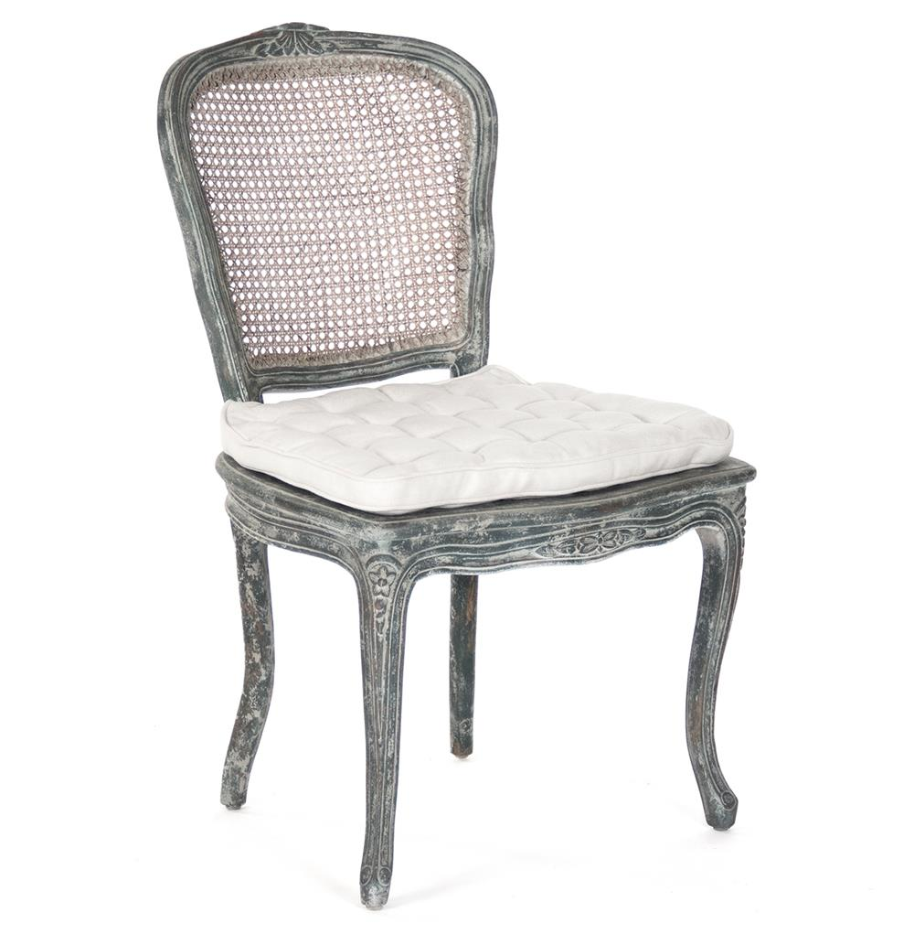 Caned Back French Country Annette Dining Chair - Antique Black