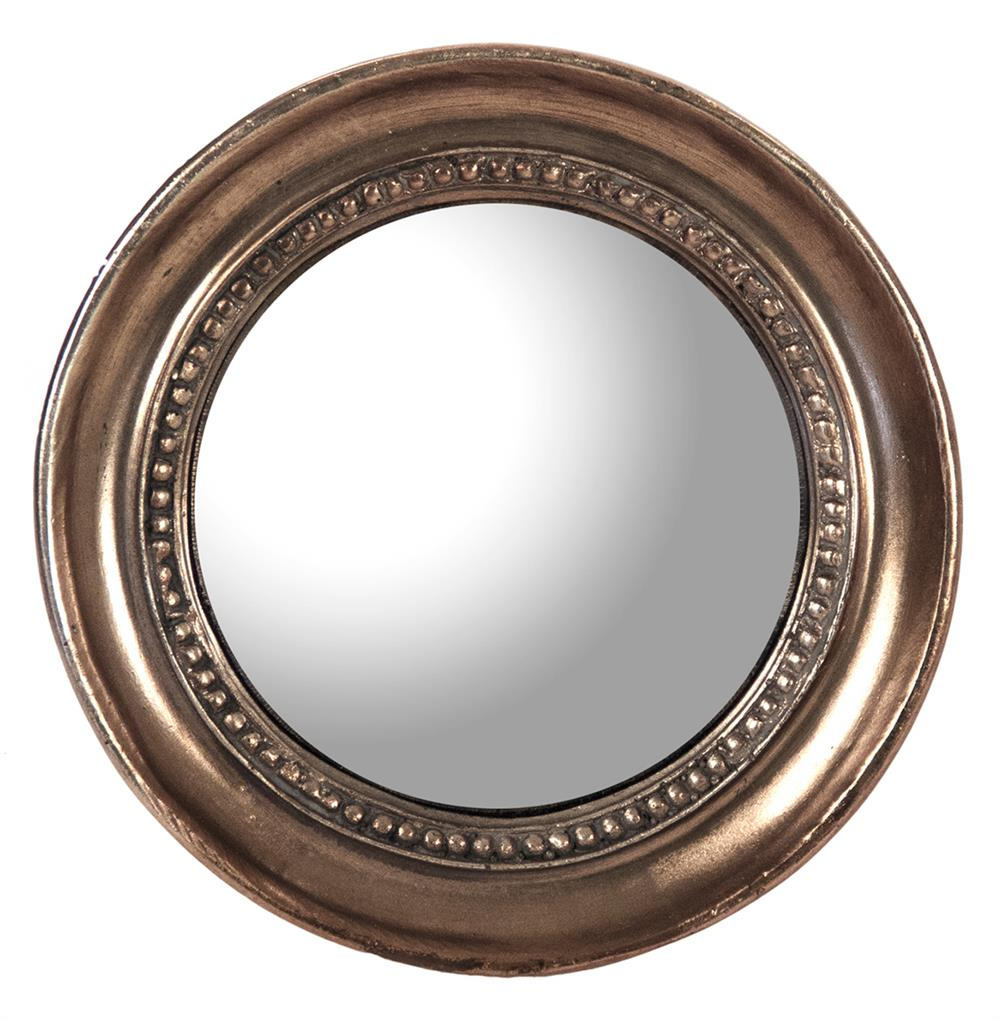 Julian antique bronze distressed small round convex mirror for Circle mirror