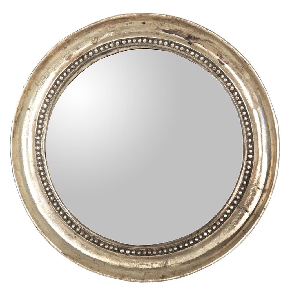 Julian antique gold champagne small round convex mirror for Round mirror