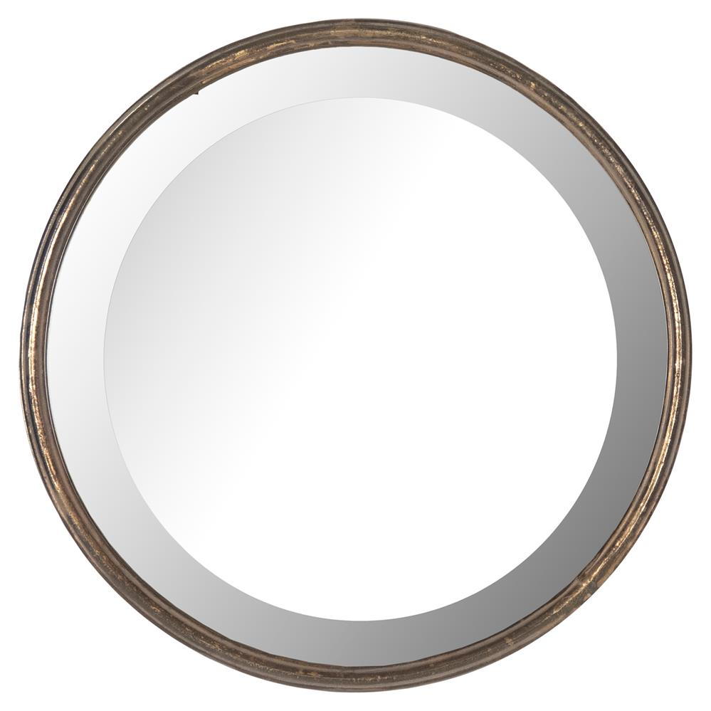 Libby hollywood regency thin frame antique bronze round for Round mirror