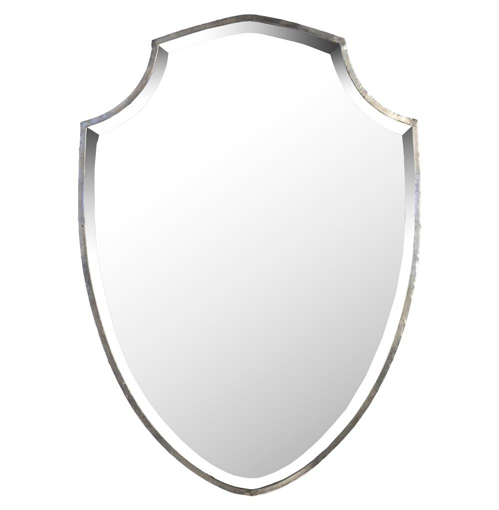Haverford Shield Masculine Rust Frame Wall Mirror | Kathy Kuo Home