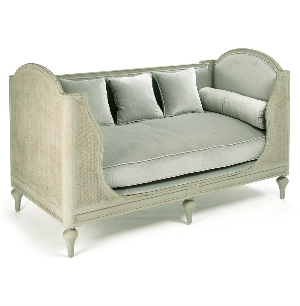 Palais French Country Grey Sage Green Painted Cane Day Bed Kathy - French country bed