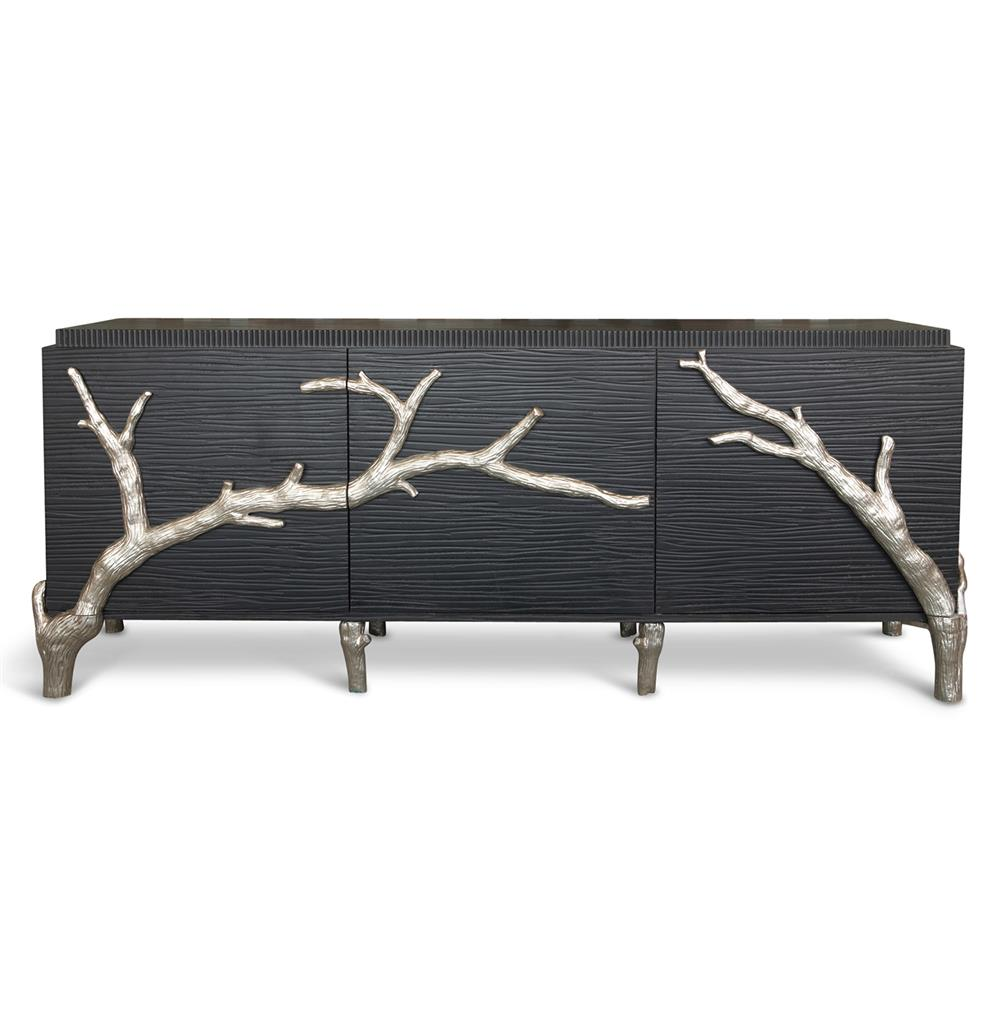 Rye Beach Hollywood Regency Black Silver Branch Media Cabinet 87 Inch Kathy Kuo Home