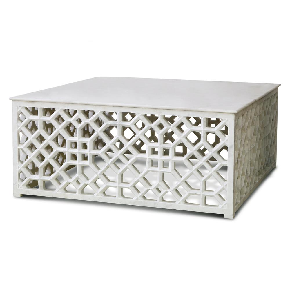 Mamounia Global Bazaar White Marble Fretwork Square Coffee Table Kathy Kuo Home