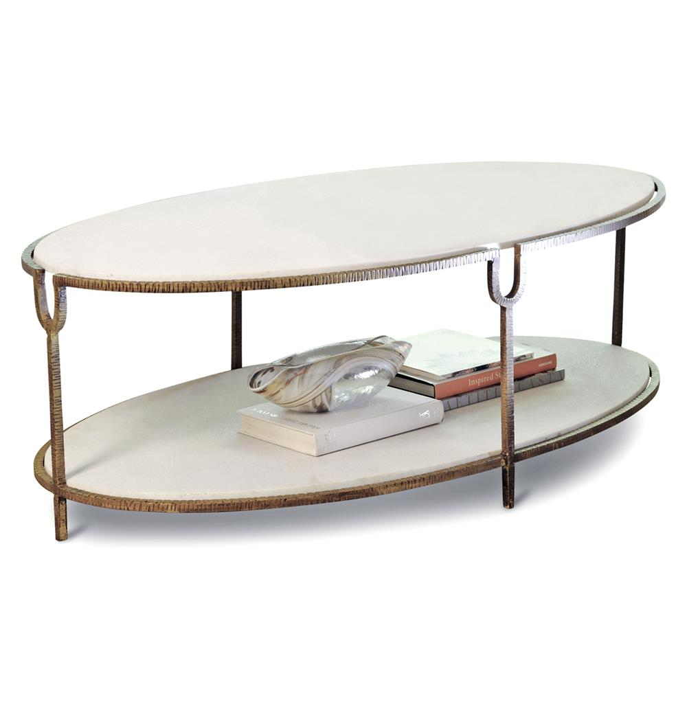 Katherine hollywood regency ivory stone oval coffee table for Stone coffee table