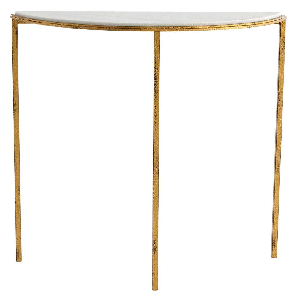 Demilune Entry Table ... Hollywood Regency Antique Gold White Marble Demilune Console Table