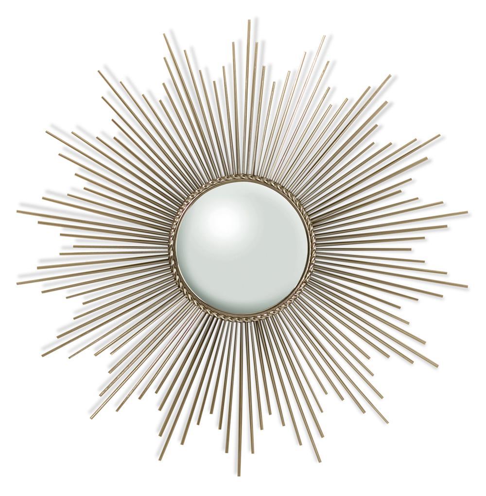 Global Views Sunburst Mirror Nickel: Alessandra Hollywood Regency Silver Sunburst Convex Mirror