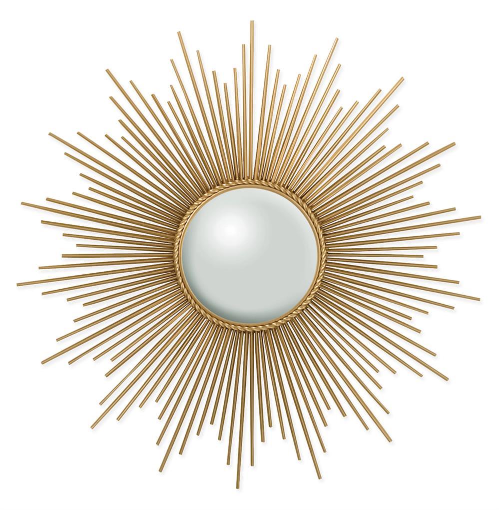 Alessandra hollywood regency gold sunburst convex mirror for Sunburst mirror