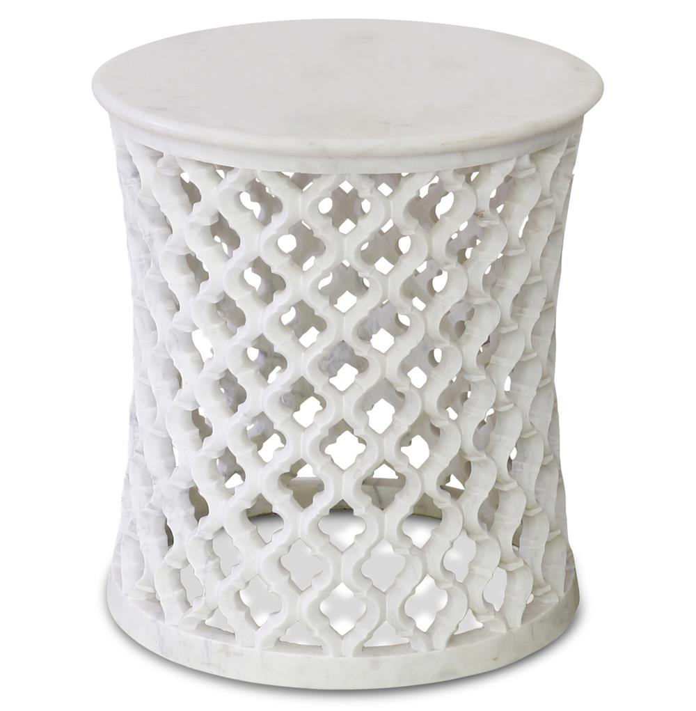Mamounia global bazaar white marble fretwork round side table for Round marble side table