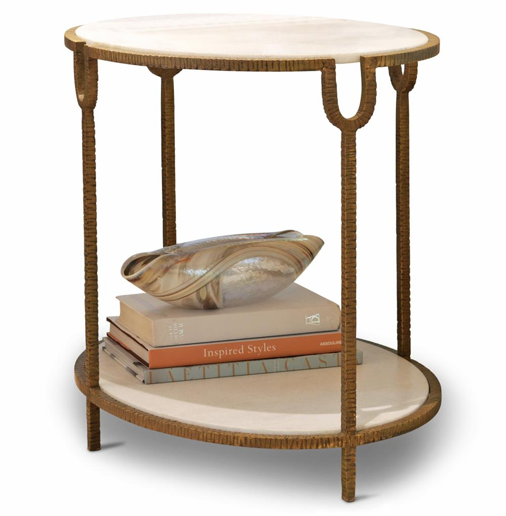 High Quality Katherine Hollywood Regency Ivory Stone Oval Side End Table | Kathy Kuo Home