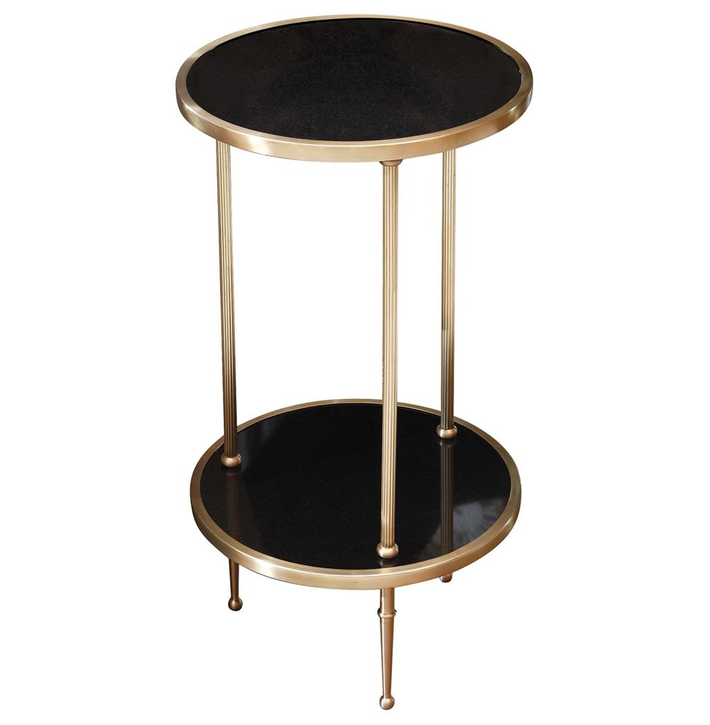 Trianon Hollywood Regency Brass Black Marble Side Table Kathy Kuo Home - Black and brass side table