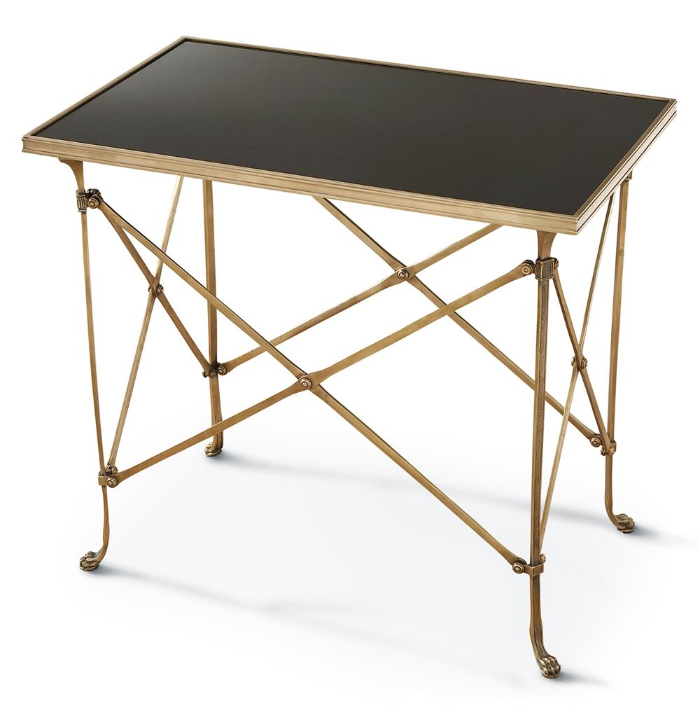 Directors Cut Hollywood Regency Gold Black Marble Rectangular End Table  Kat -> Gold Rectangle Table