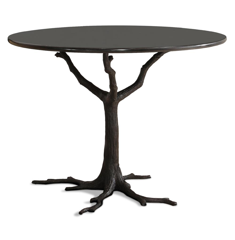 Bijou Global Bazaar Black Tree Branch Iron Marble Pee Dining Table Kathy Kuo Home