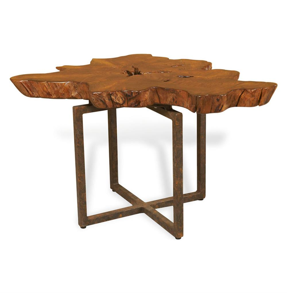 Harrer Rustic Lodge Teak Root Iron Abstract Side End Table