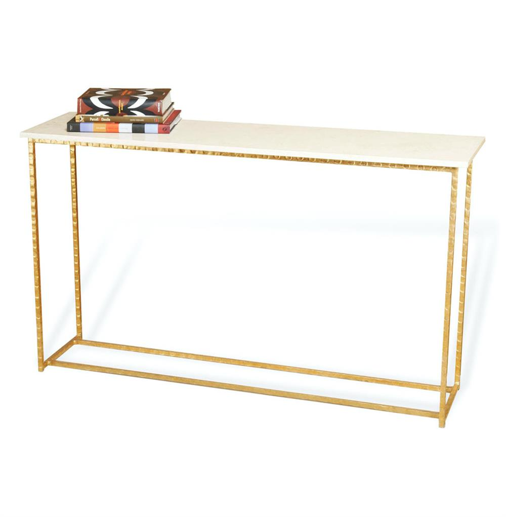 Edland Hollywood Regency Gold Leaf Cream Marble Long Console Table