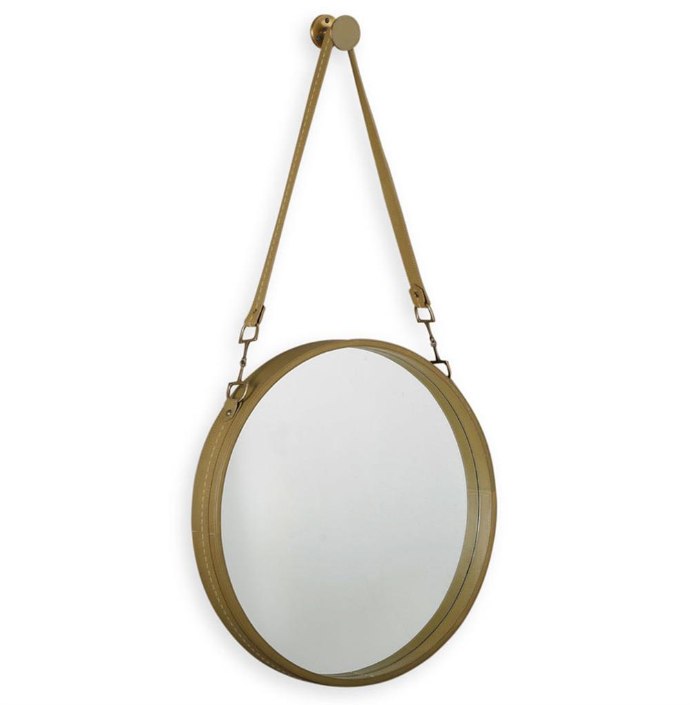Seton rustic lodge basil green leather strap hanging mirror for Hanging mirror