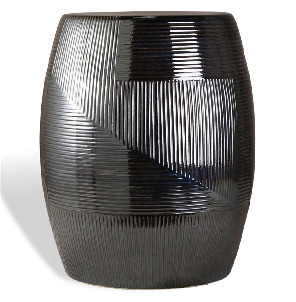 Black Pearl Coastal Style Glazed Barrel Side Table Kathy