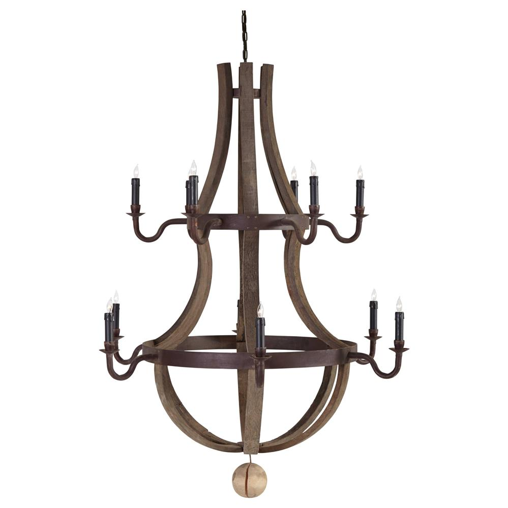 Sejour French Country Natural Oak 12 Light Chandelier