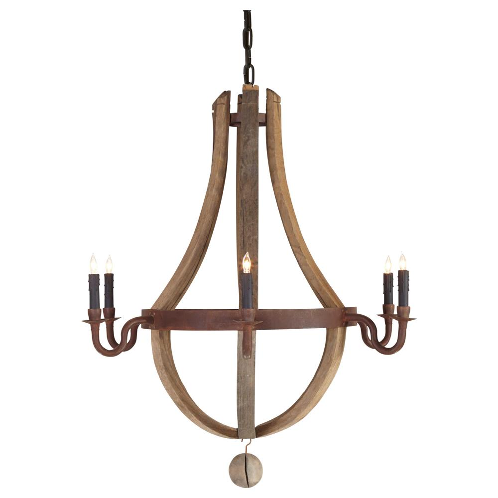 Sejour French Country Natural Oak 6 Light Chandelier
