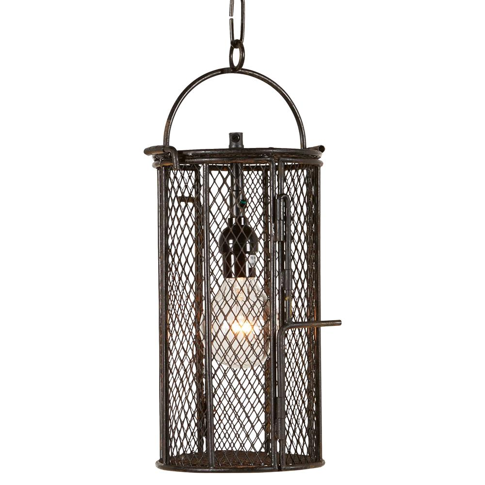 Industrial Pendant Chandelier 4 Light With Square Mesh