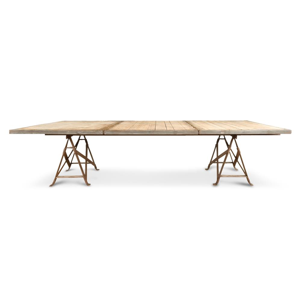 frinier industrial loft iron reclaimed wood extra large dining table 110 kathy kuo home. Black Bedroom Furniture Sets. Home Design Ideas