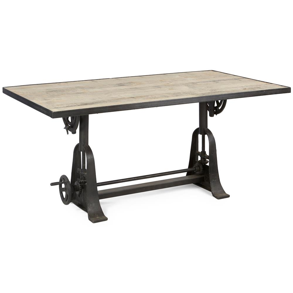 Monterrey Industrial Loft Iron Reclaimed Wood Adjustable Dining Table 96 In