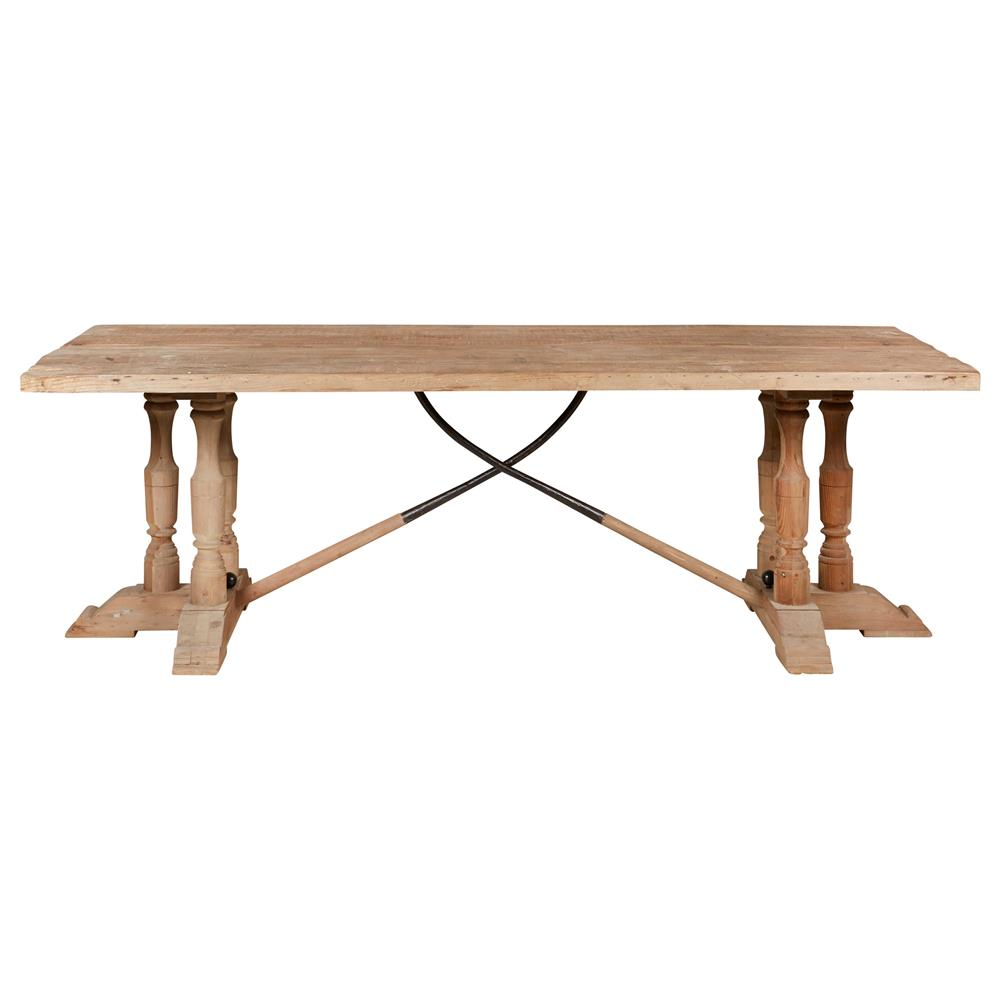 Arbre french country reclaimed pine wood trestle dining for Trestle dining table