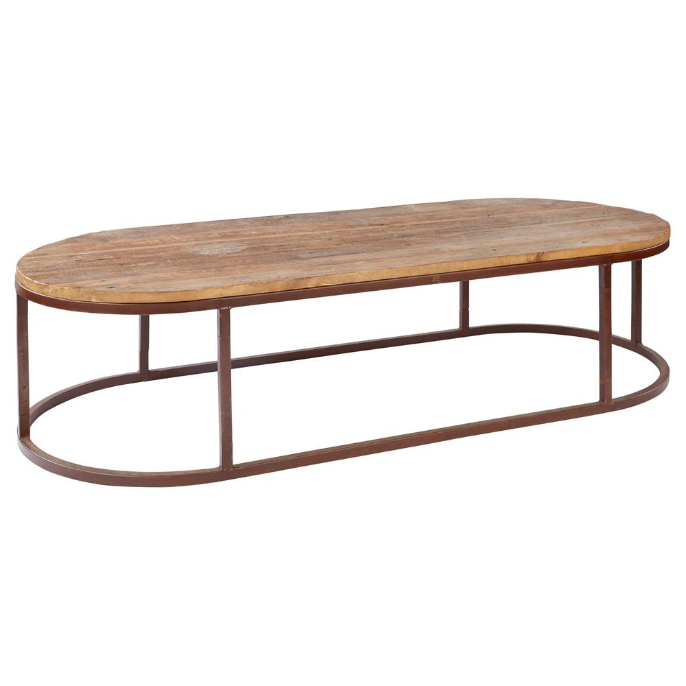 Tilton rustic lodge reclaimed wood iron oval coffee table kathy kuo home Rustic iron coffee table