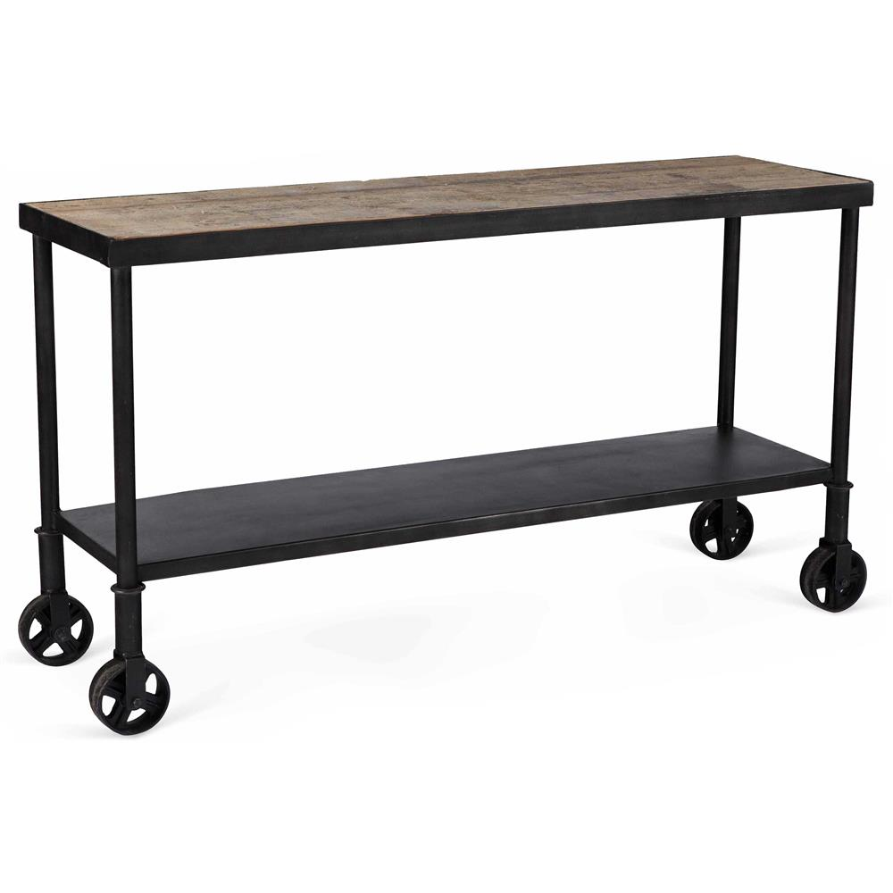 Belker industrial loft reclaimed wood iron casters cart for Wood and metal console table