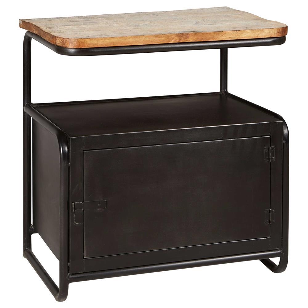 Meyer Industrial Loft Iron Reclaimed Wood Locker Side Table