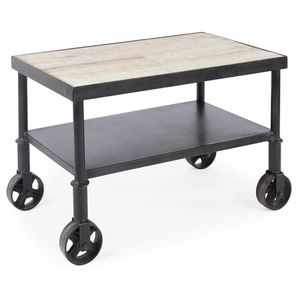 Industrial Metal Coffee Table With Wheels: Belker Industrial Loft Reclaimed Wood Iron Casters Cart
