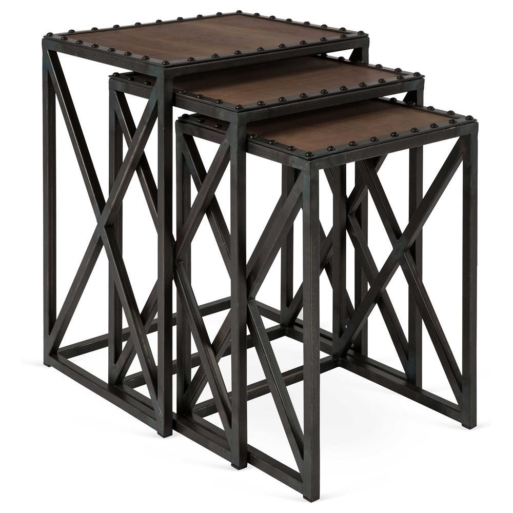 Gispen industrial loft leather iron nesting tables set