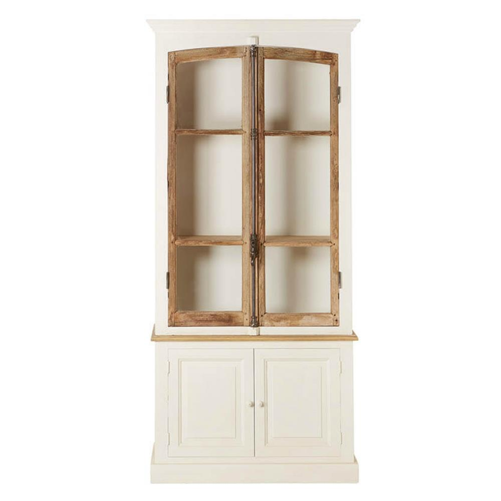 Portes Antique French Country 2 Door White Pine Cabinet Curio