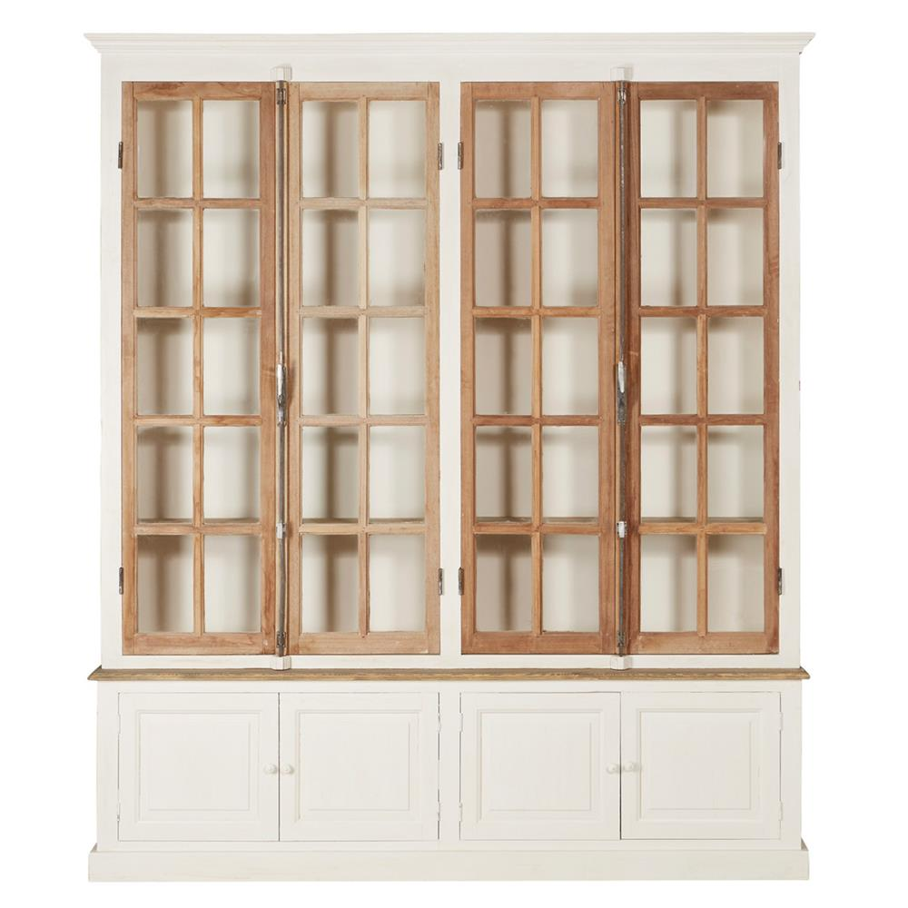 Portes Antique French Country 4 Door White Pine Cabinet Curio