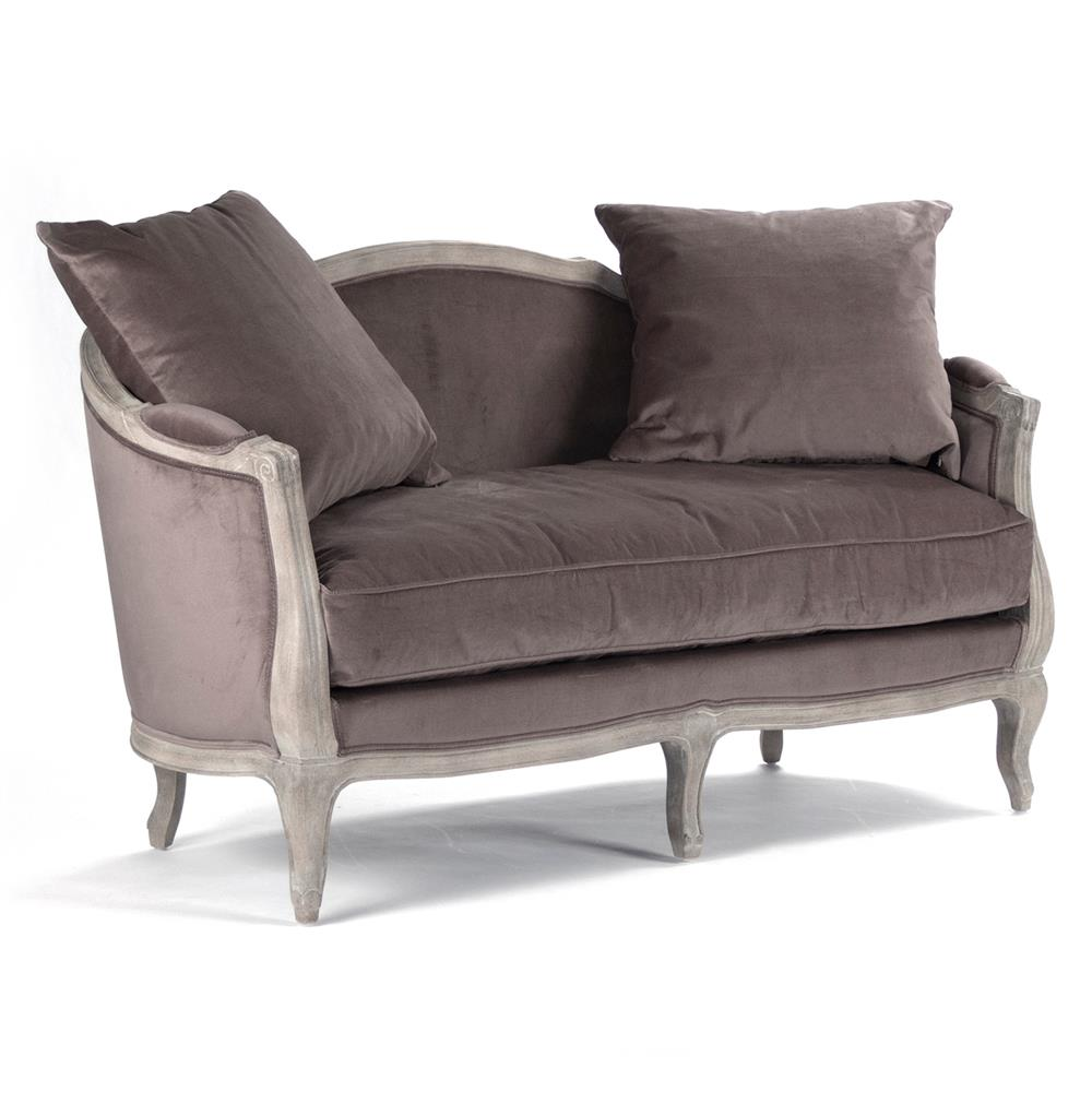 Rue du bac french country chocolate velvet feather settee loveseat kathy kuo home Chocolate loveseat