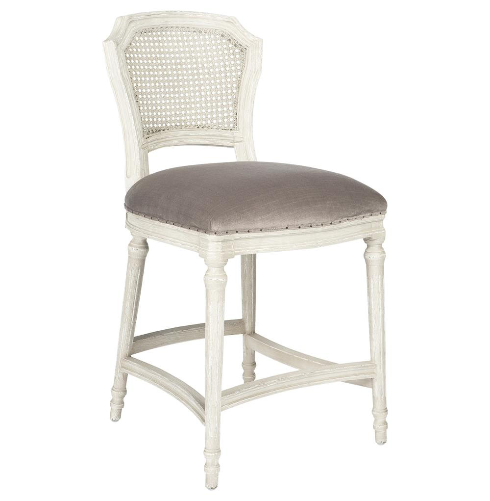 Camilla French Country White Grey Velvet Counter Stool