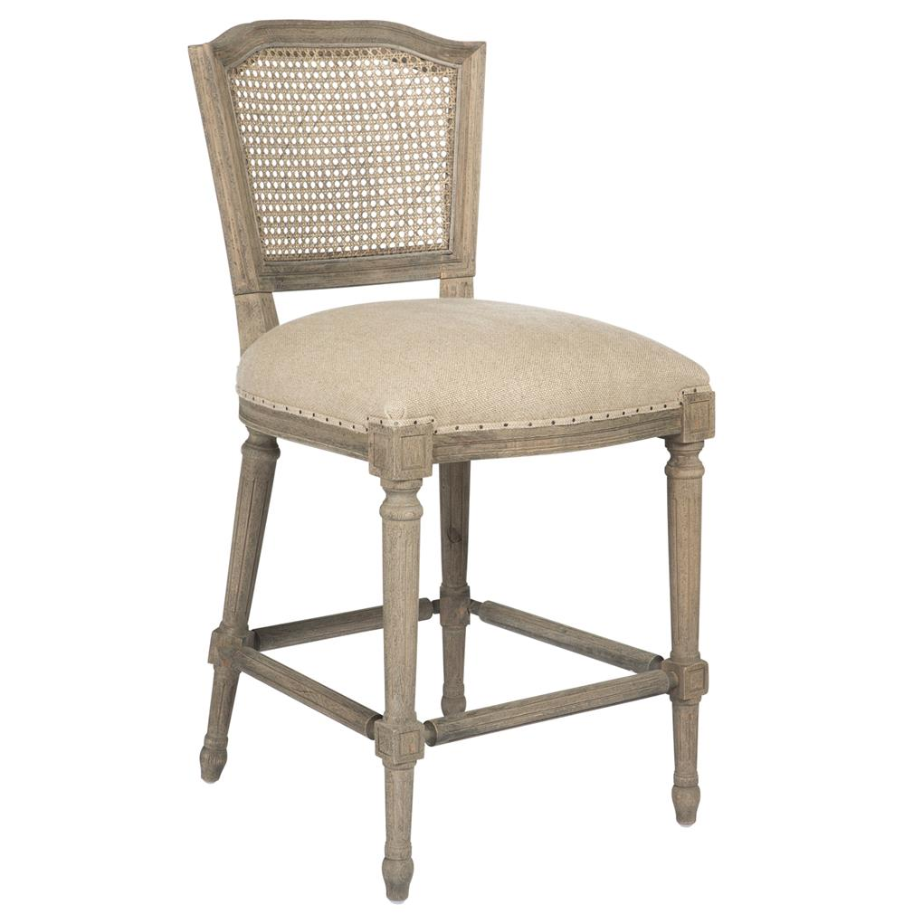 Camilla French Country Washed Taupe Linen Counter Stool