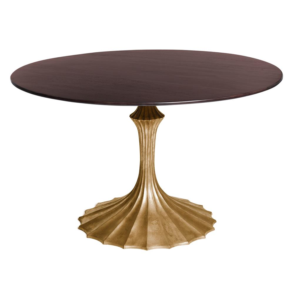 Gold Dining Tables ~ Gold fluted base walnut hollywood regency dining table