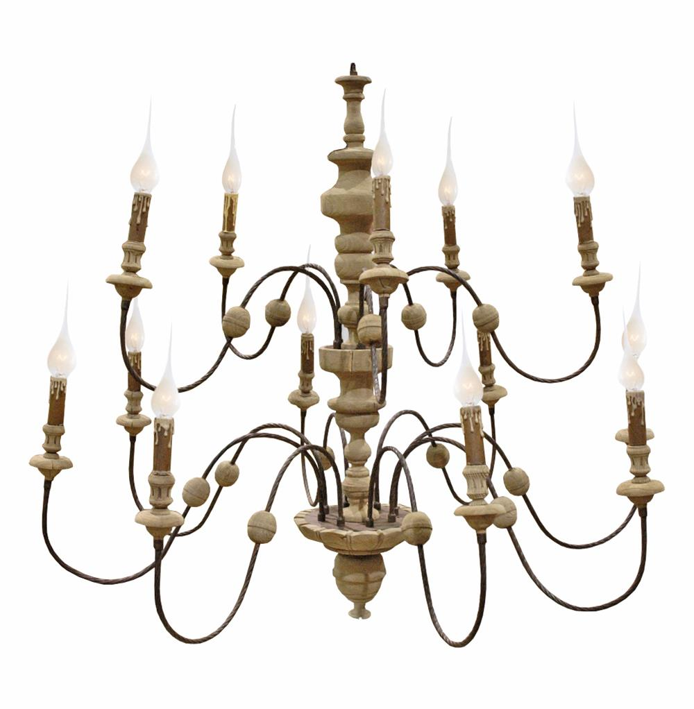 Philippe French Country Reclaimed Wood Iron 13 Light Grand