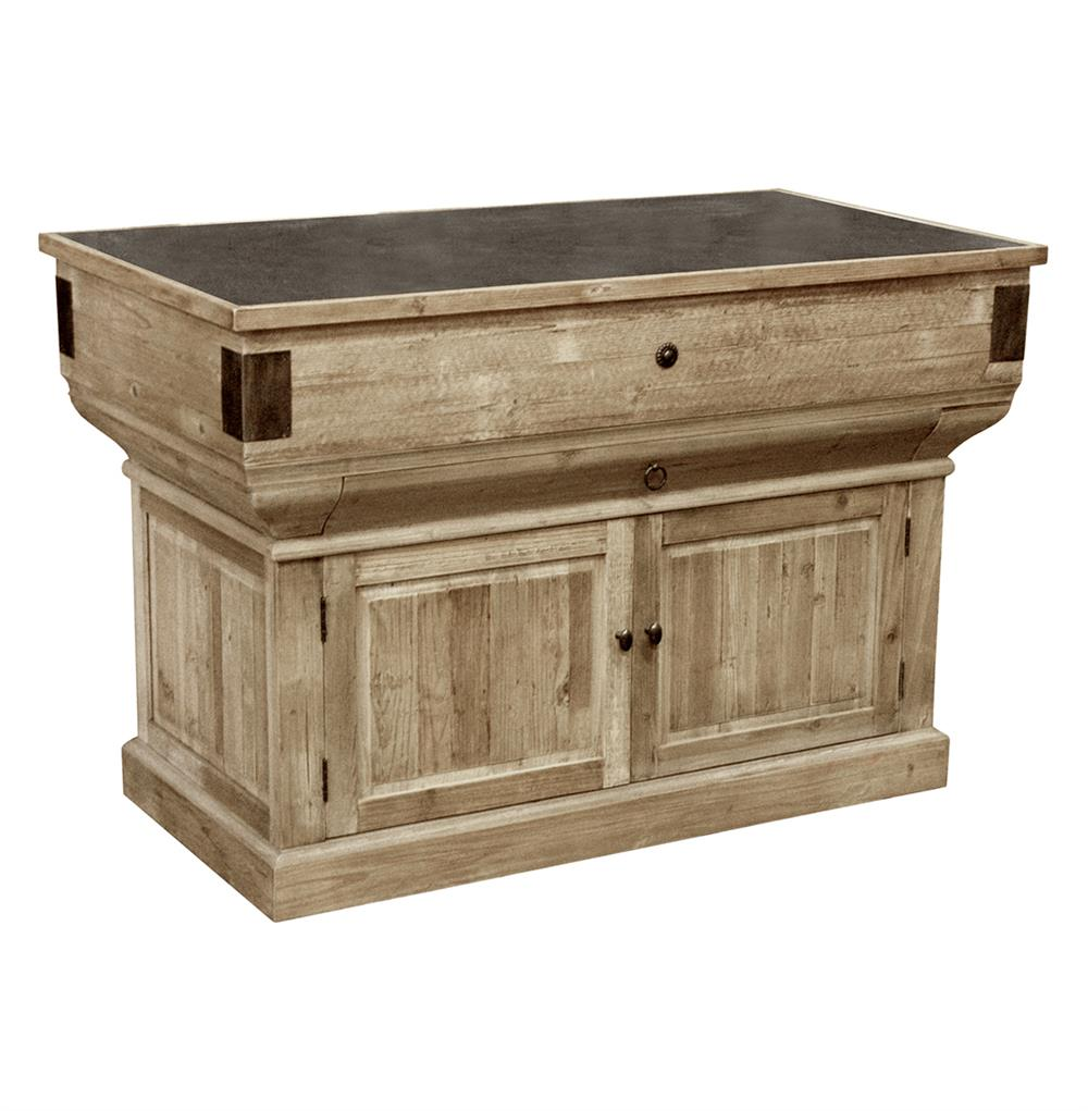 Oleron French Country Reclaimed Wood Rustic Kitchen Island Kathy Kuo